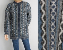 Cardigan sweater jumper pullover, blue striped patterned, purewool, ribbed ruched, long sleeve blue grey, button up, x large plus size