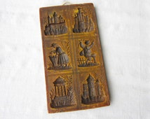 Old Large Vintage Brown Wax Springerle Mold / Replica of an Antique Wooden Mold with various images (castles, people)