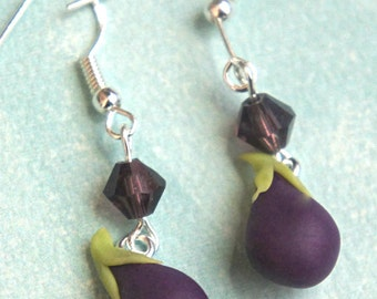 eggplant dangle earrings- miniature food jewelry, vegetable earrings