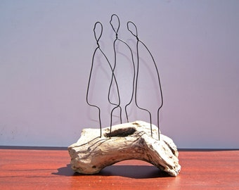 Wire sculpture, Grumpy old men, driftwood sculpture. Figure sculpture, hand crafted wire art sculpture. Driftwood art. Wood decor.