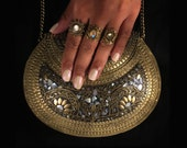 Oria  metal stone bag  ethnic clutch  tribal bag  ornate bag  vintage bag  boho clutch  indian bag  mother of pearl purse