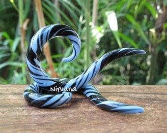 "Steel Blue & Black Thai Spirals 10g 8g 6g 4g 2g 0g 00g 7/16"" 1/2"" 9/16"" 5/8"" 2.5 mm 3 mm 4 mm 5 mm 6 mm 8 mm - 16 mm"