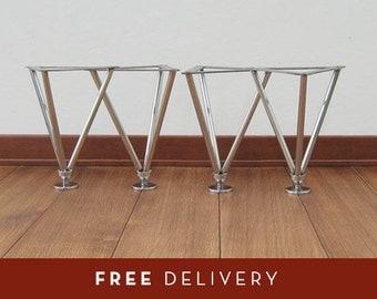 Table legs stainless steel small, gambe da tavolino, h:24 cm, struttura, made in italy set (4)