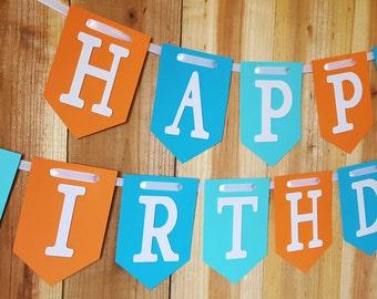 Happy Birthday Banner, Happy 1st Birthday Banner, Boy Birthday Banner
