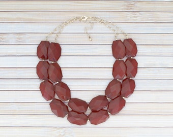 Dark Red Statement Beaded Necklace, Multi 2-Strand Chunky Bib Necklace, Burgundy Double Strand Choker, Maroon & Gold Holiday Necklace