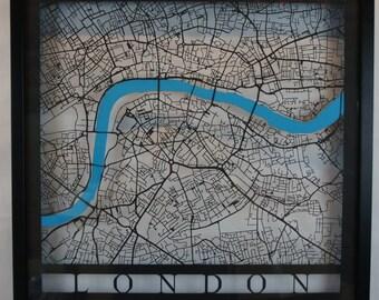 London - Laser Cut Map - Black