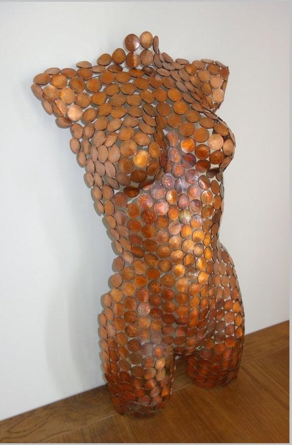 Metal art sculpture torso coin art wall hanging home decor for Plaque metal decorative pour jardin