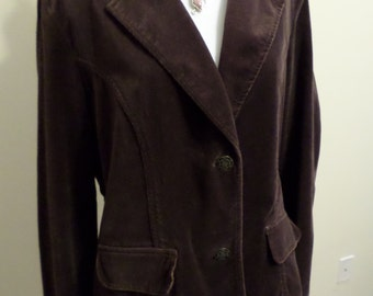 Dark Brown Velvet Blazer L