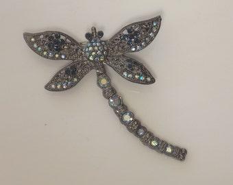 Vintage Dragonfly Brooch with Swarovski Crystals