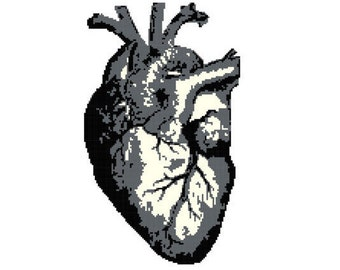 Black and White Anatomical Heart PDF Pattern