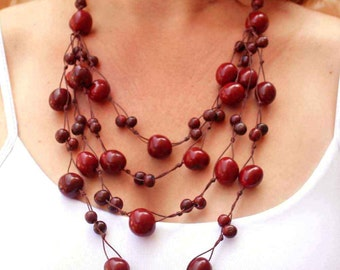 Red Bead Necklace - Eco Jewelry - Red Statement Necklace - Multi Strand Necklace - Great Gift Ideas for Women - Red Necklace 1070