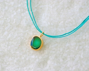 Minimalist Gold Necklace, Green Enamel, Tiny Layering Necklace, Golden Plated Bronze,Adjustable Cord/ Gift for Her/ Valentine gift