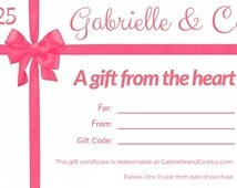 Printable Gift Certificate - Digital Download - Teen Girl Gifts - Printable Gift Cards - Online Gift Certificates - E Gift Certificates