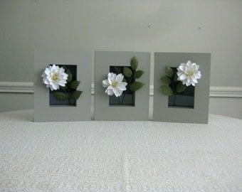 Handmade Paper Dahlias in Frames