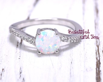 Art Deco Opal Ring | Lab Created Ring | Lab Created White Opal Engagement Ring | Opal Ring for Her | Girlfriend Opal Ring | Womens Promise