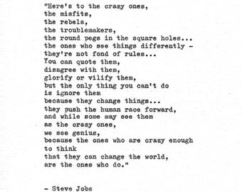 Steve Jobs Hand Typed Inspirational Quote 'To The Crazy Ones' Vintage Typewriter Letterpress Apple Advert Think Different Change The World