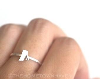 Rhode Island Ring - Rhode Island state ring, Rhode Island map ring, I heart Rhode Island ring, Dainty rings