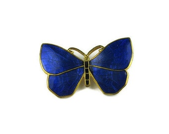 Blue Guilloche Enamel Butterfly Pin