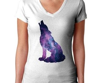 Howling Wolf Shirt - Wolf T Shirt - Wolf Tee Shirt - Wolf Gift - Galaxy Print - Nebula Print - Space Print - Galaxy Clothing - Wolf Tshirt