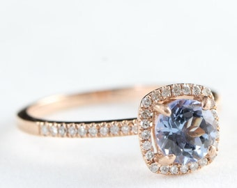 Engagement ring rose gold tanzanite and diamond for her in 10k gold