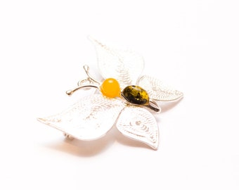Butterfly Brooch, Amber Brooch, Baltic Amber Brooch, Butterfly Jewellery, Butterfly Pin, Butterfly Accessory, Amber and Silver, Pin Brooch