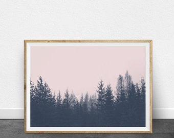 Tree Wall Art, Forest Print, Landscape Photography, Minimalist Art, Printable Wall Art, DIY Home Decor, Modern Art, Interior Design, Pink