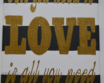 All You Need is Love, Love is All You Need - The Beatles Lyrics Canvas - Love Wall Art - Love is Love - Love Subway Art