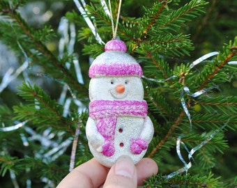 Snowman christmas ornament Holiday decor Winter snowmen Xmas Winter wedding Christmas decorations Ecofriendly Nature inspired Hand made