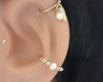 Freshwater Pearl conch piercing, gold conch earring, silver conch ring,conch hoop,conch piercing jewelry,16-22 gauge, 12-16mm inner diameter