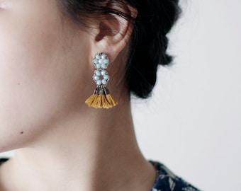 STATEMENT TASSEL EARRINGS / tassel jewelry / bohemian earrings / fringe earrings / beaded earrings / handmade jewelry / wishpiece