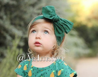 Green Head Wrap, Baby Girls Head wrap, Hunter Green baby Fabric Wrap, Big Bow, Toddler Headwrap, Infant-Adult (READY TO SHIP)