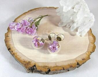 Terrarium earrings, real flower earrings, double ended studs, sea lavender earrings, floral studs