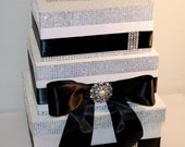 Bow Tie Classic With Bling Wedding Card Box, Sparkly Decorated Box With Black Satin, Reception Formal, Unique, Box for Cards