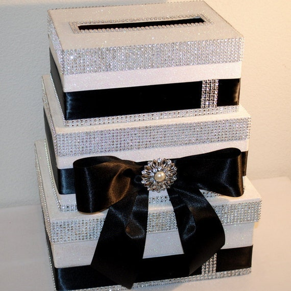 Bow Tie Classic With Bling Wedding Card Box, Sparkly Decorated Box With Black Satin, Sweet 16 Party Card Box, Reception, Formal Card Box