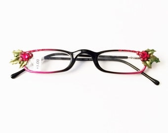 Christmas Eyeglasses +3.00, Holly berries, Red and Green, Holiday Reading Glasses