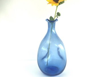 S A L E  Vintage Blenko Decanter in Blue #49, Mid Century Blue Blenko Pinched Glass Decanter 49