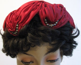 Vintage Hat Red Satin Ruched Rhinestones 1950s