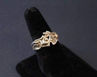 14K White and Yellow Gold Two Tone Free Form Brutalist Organity Ring