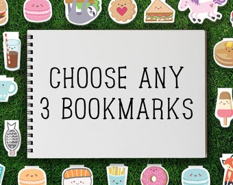 Magnetic Bookmark | Mix & Match Bookmarks Magnetic Pack of 3 Magnet Cute Food Kawaii Dessert Tea Breakfast Donut Cookie Quirky Sweet