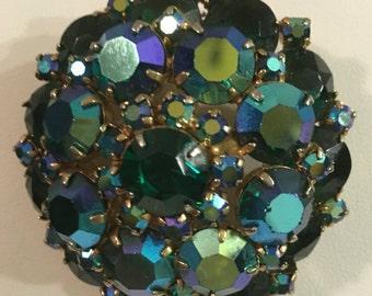 Vintage Aurora Borealis Green Brooch