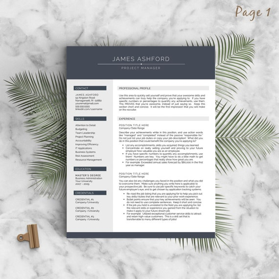 Modern Resume Template For Word And Pages , 1 3 Page Resume + Cover Letter  + Tips | US Letter U0026 A4 | Modern Cv Template | INSTANT DOWNLOAD  Modern Resume Tips