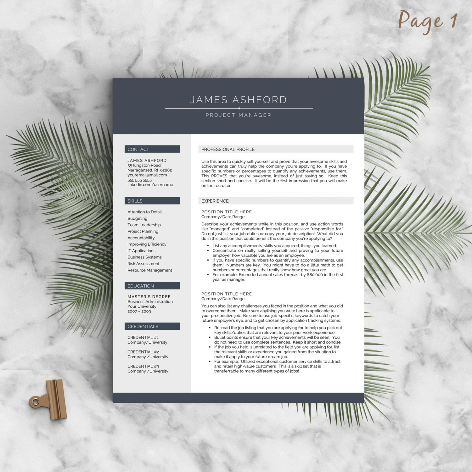 modern resume template for word and pages 1 3 page resume 🔎zoom