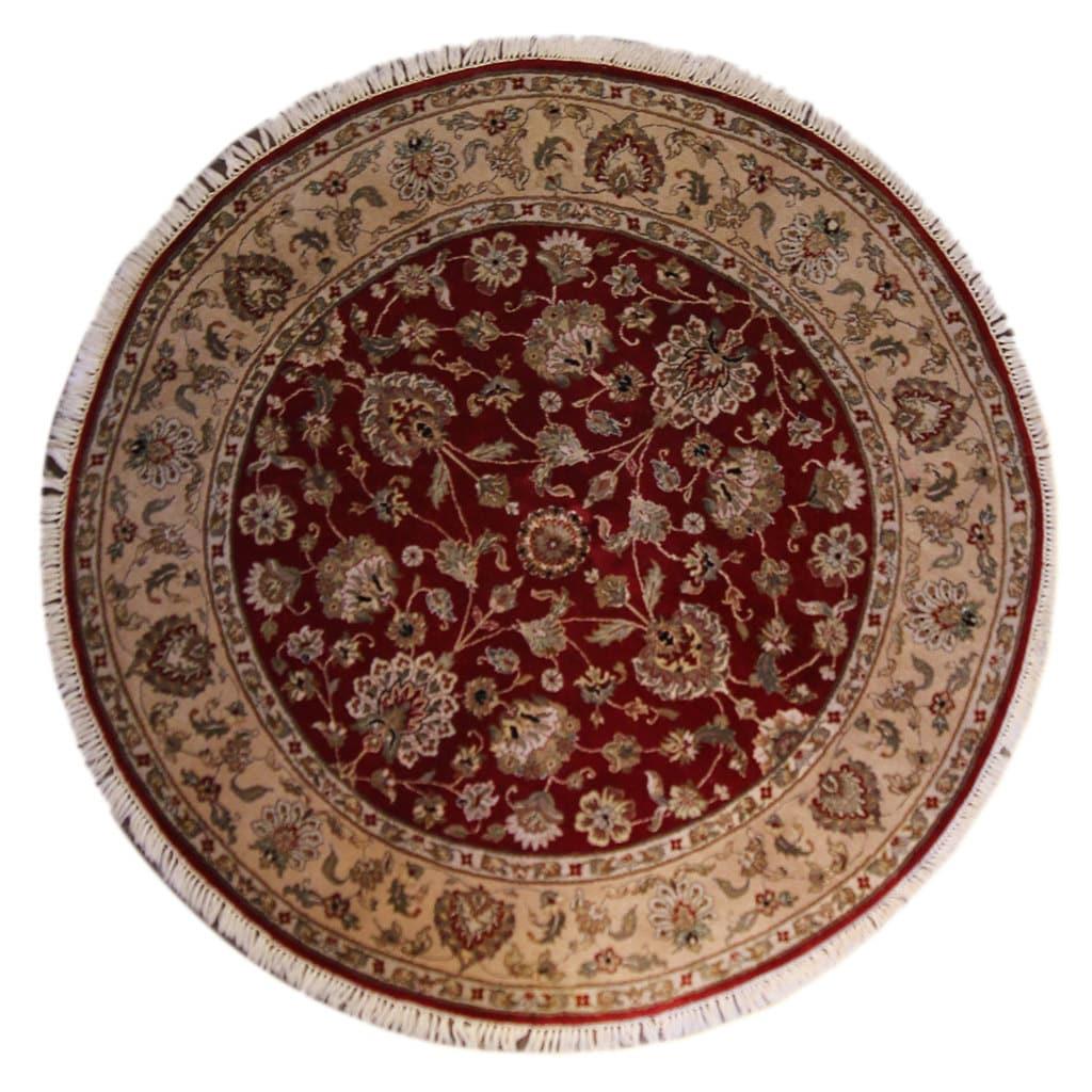 6x6 Agra Round Rug Handmade Rug Wool Rug Area By