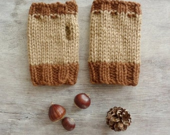 Short Fingerless Gloves - Brown and Beige - Warm and Soft