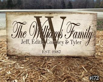 Custom Monogram Sign, Wood Family Name Sign,  Wedding Established, Personalized Sign, Family Established, Gifts,Wedding Sign, Rustic Name