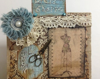Sewing Theme Mixed Media Bookcase Art Sewing Room Decor Vintage Clothing Art