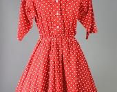 The Minnie - Retro 80s 50s Red Polka Dot Dress Dapper Day Disney Costume Pin Up Women's Size Medium Large