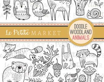 Cute Doodle Woodland Creature Clipart, Forest Animal Clipart, Woodland Digital Stamps, Bird Owl Deer Bear Raccoon Fox Clip Art