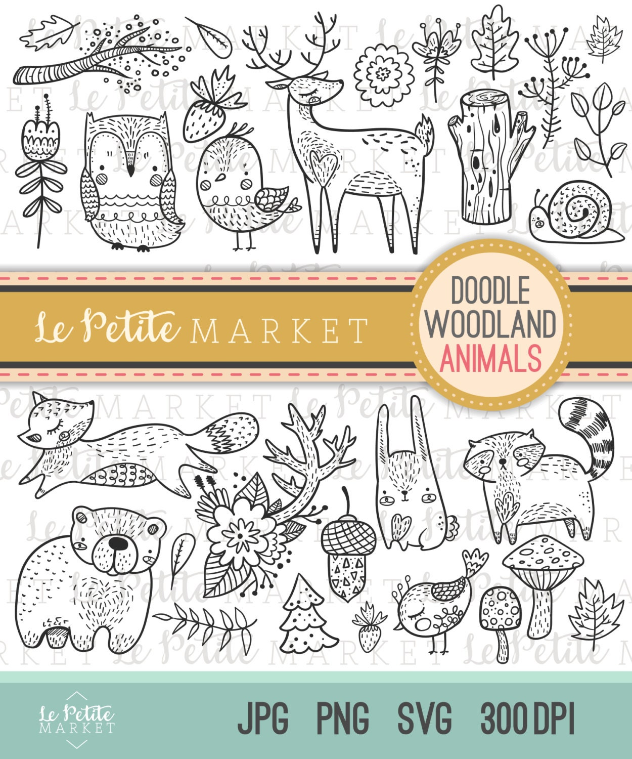 Cute Doodle Woodland Creature Clipart Forest Animal Clipart Woodland Digital Stamps Bird Owl