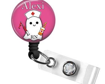 Ghost Badge Reel, Halloween Badge Reel, Retractable Badge Reel, Id Badge Reel, Badge Reel RN, Badge Reel Personalized